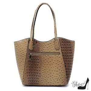 My Bag Lady Online Bags - Veda Ostrich Tote and Clutch Set